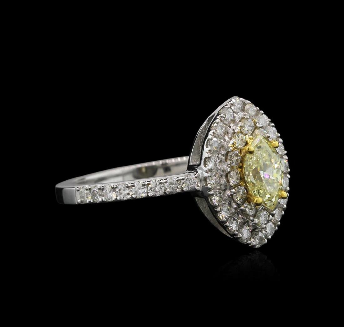 1.15 ctw Yellow Diamond Ring - 14KT White Gold