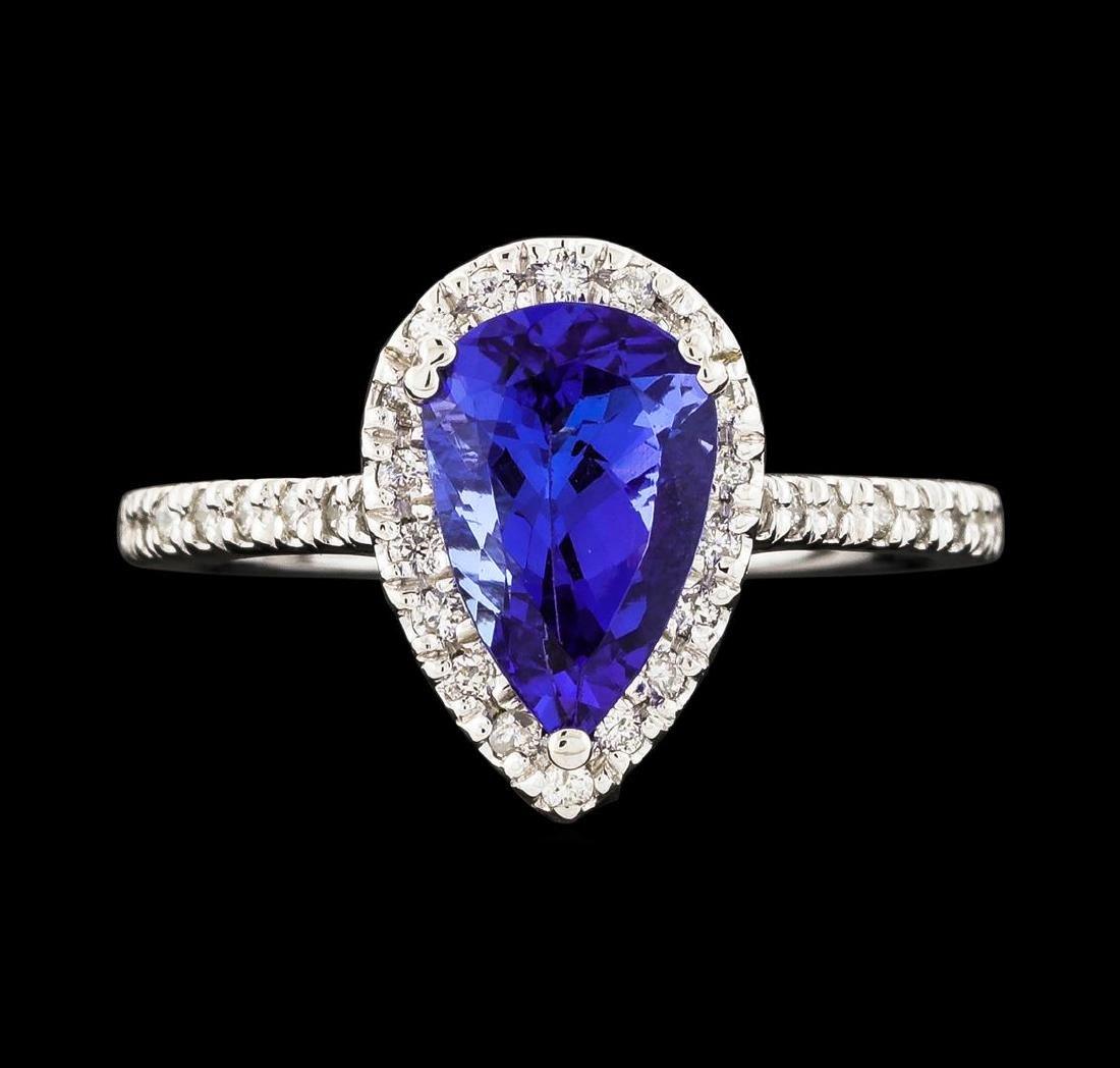 1.72 ctw Tanzanite and Diamond Ring - 14KT White Gold - 2