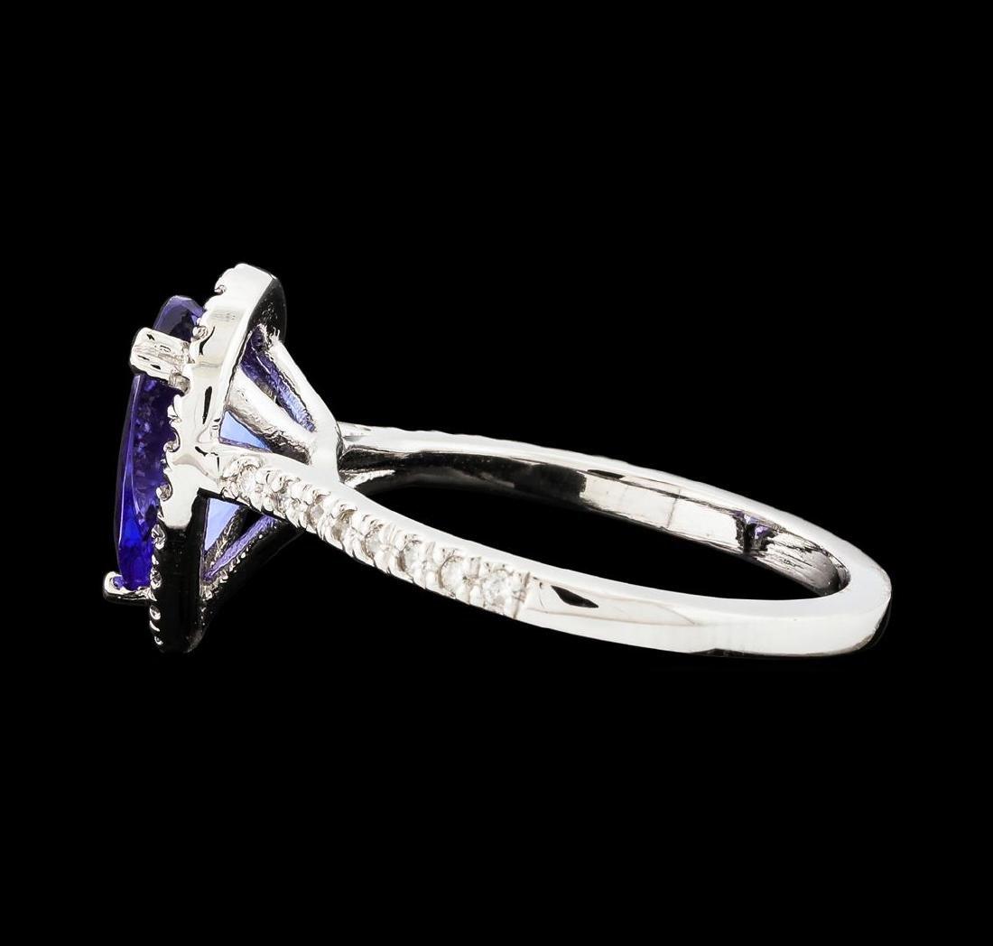 1.72 ctw Tanzanite and Diamond Ring - 14KT White Gold - 3