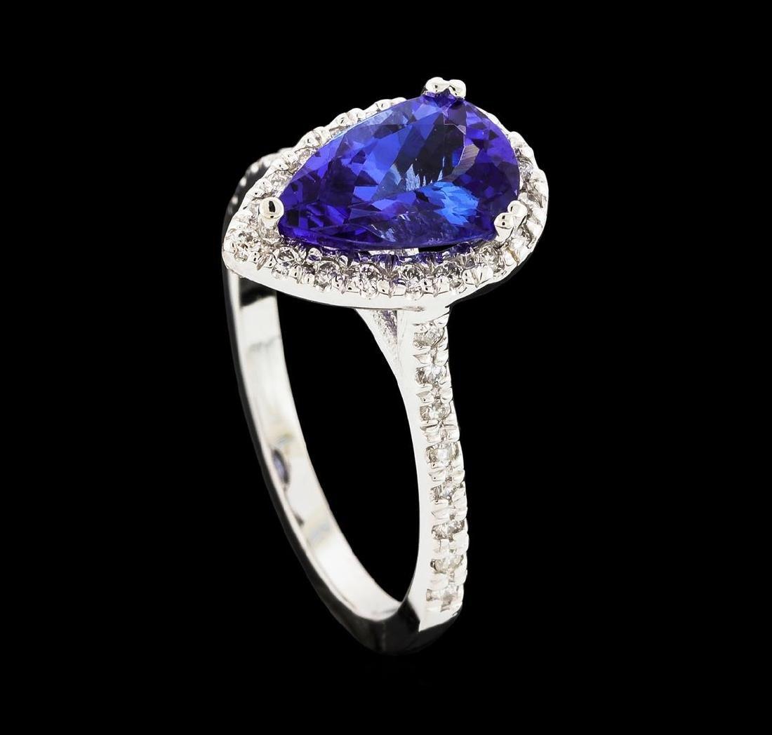1.72 ctw Tanzanite and Diamond Ring - 14KT White Gold - 4