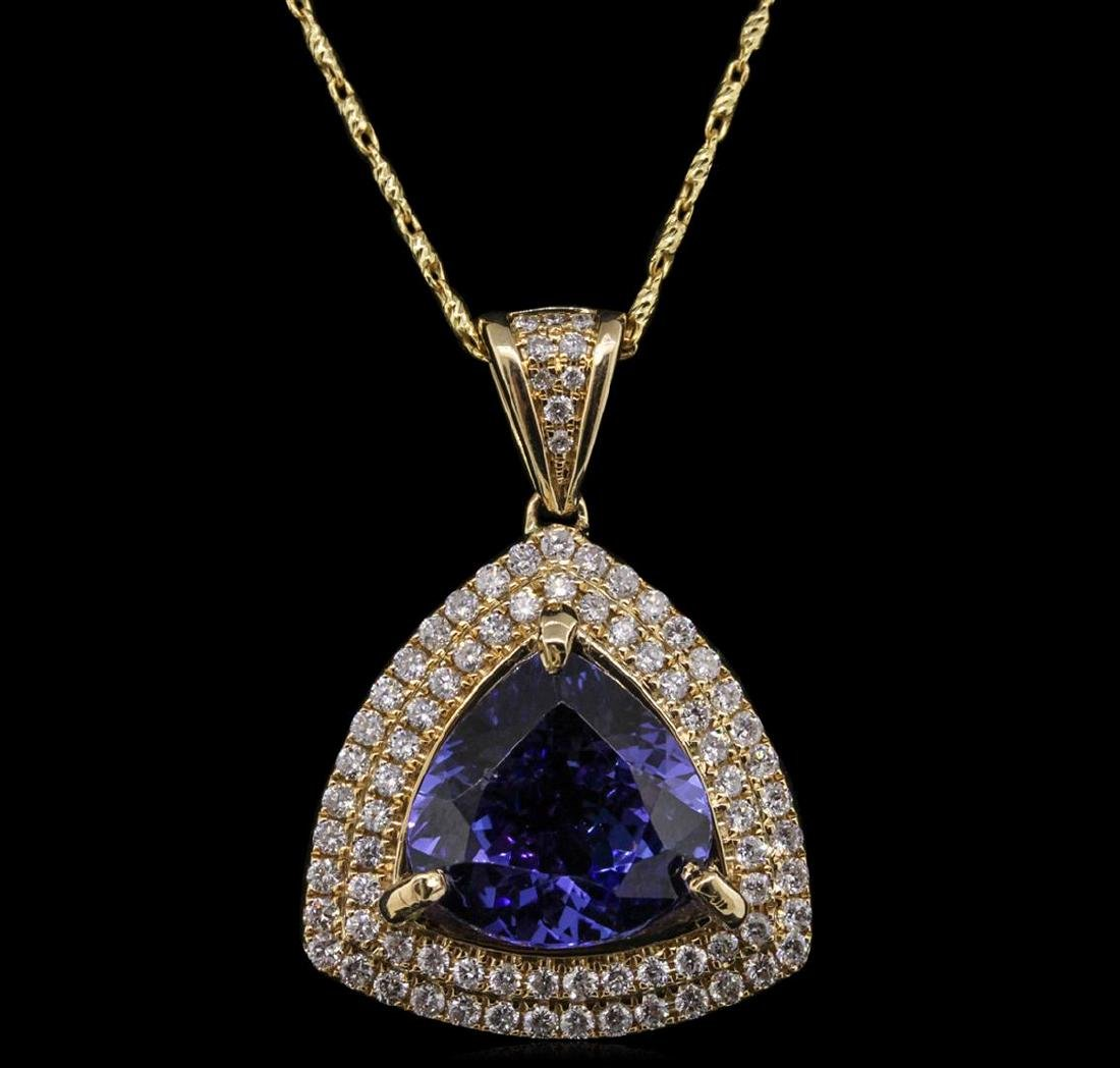 14KT Yellow Gold 6.47 ctw Tanzanite and Diamond Pendant