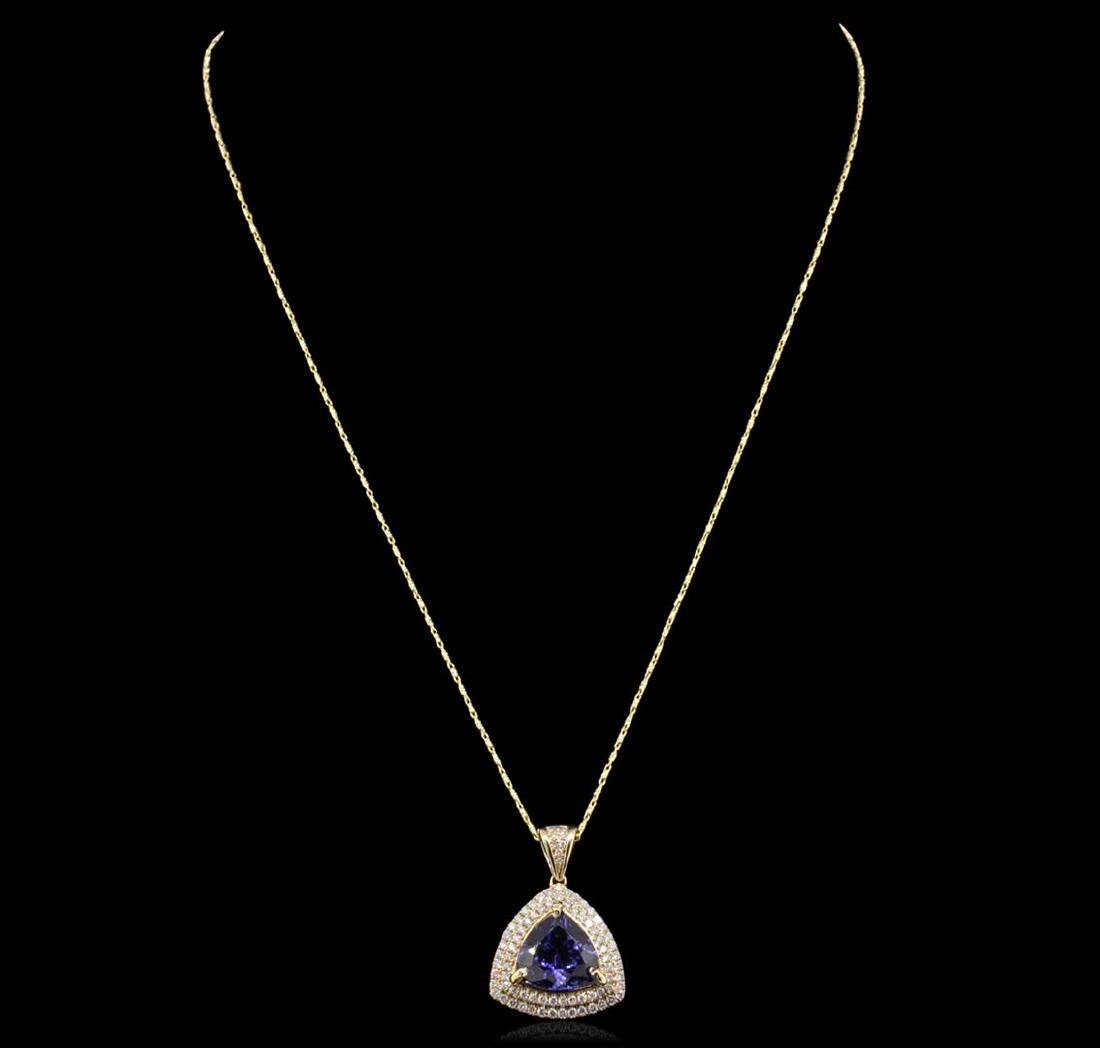 14KT Yellow Gold 6.47 ctw Tanzanite and Diamond Pendant - 2