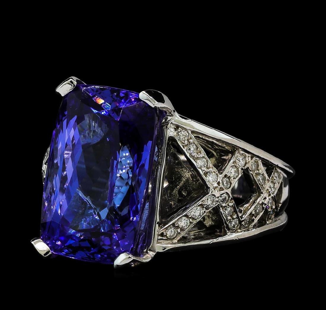 13.27 ctw Tanzanite and Diamond Ring - 14KT White Gold