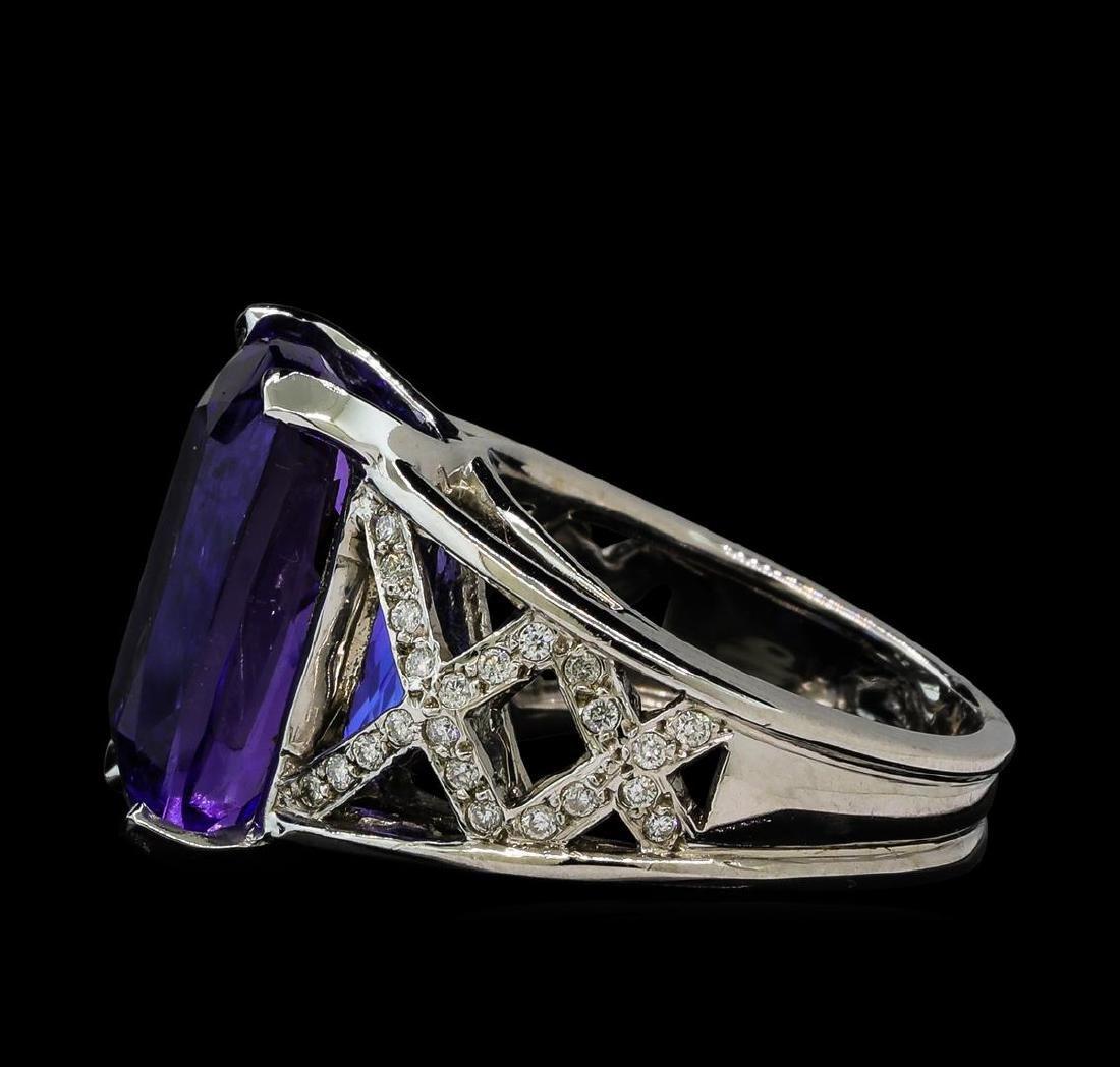 13.27 ctw Tanzanite and Diamond Ring - 14KT White Gold - 3