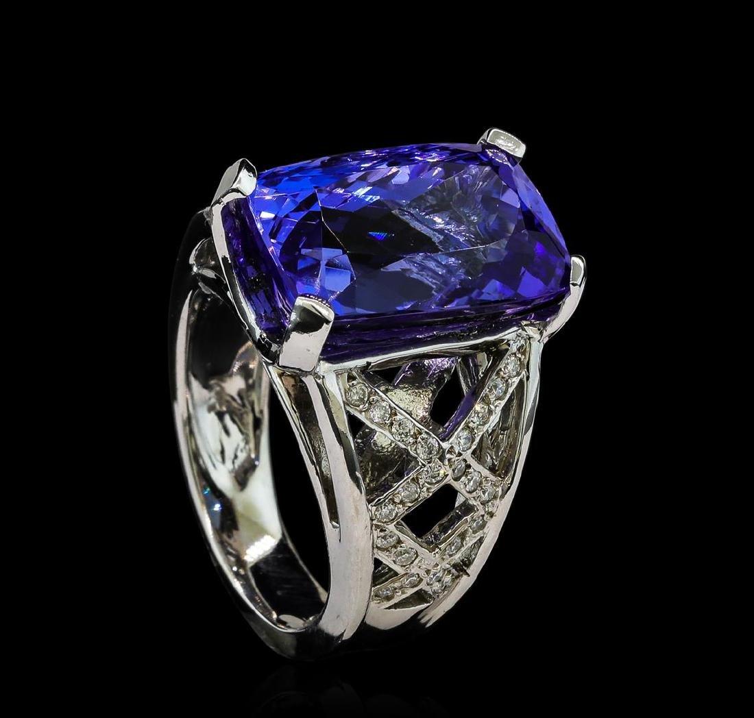 13.27 ctw Tanzanite and Diamond Ring - 14KT White Gold - 4
