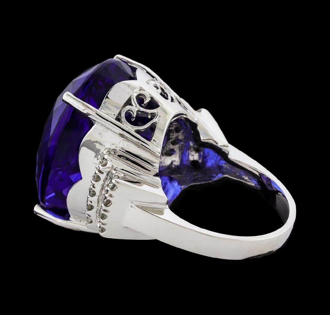 GIA Cert 43.95 ctw Tanzanite and Diamond Ring - 14KT - 3