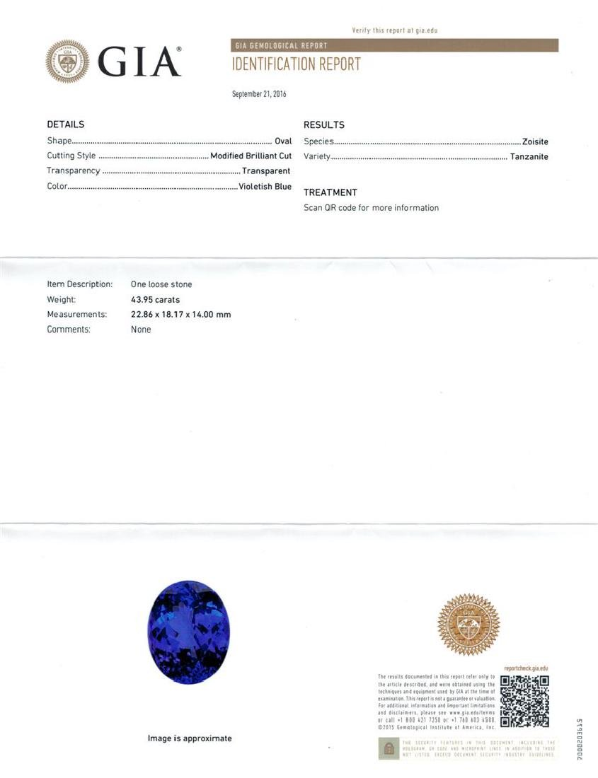 GIA Cert 43.95 ctw Tanzanite and Diamond Ring - 14KT - 6
