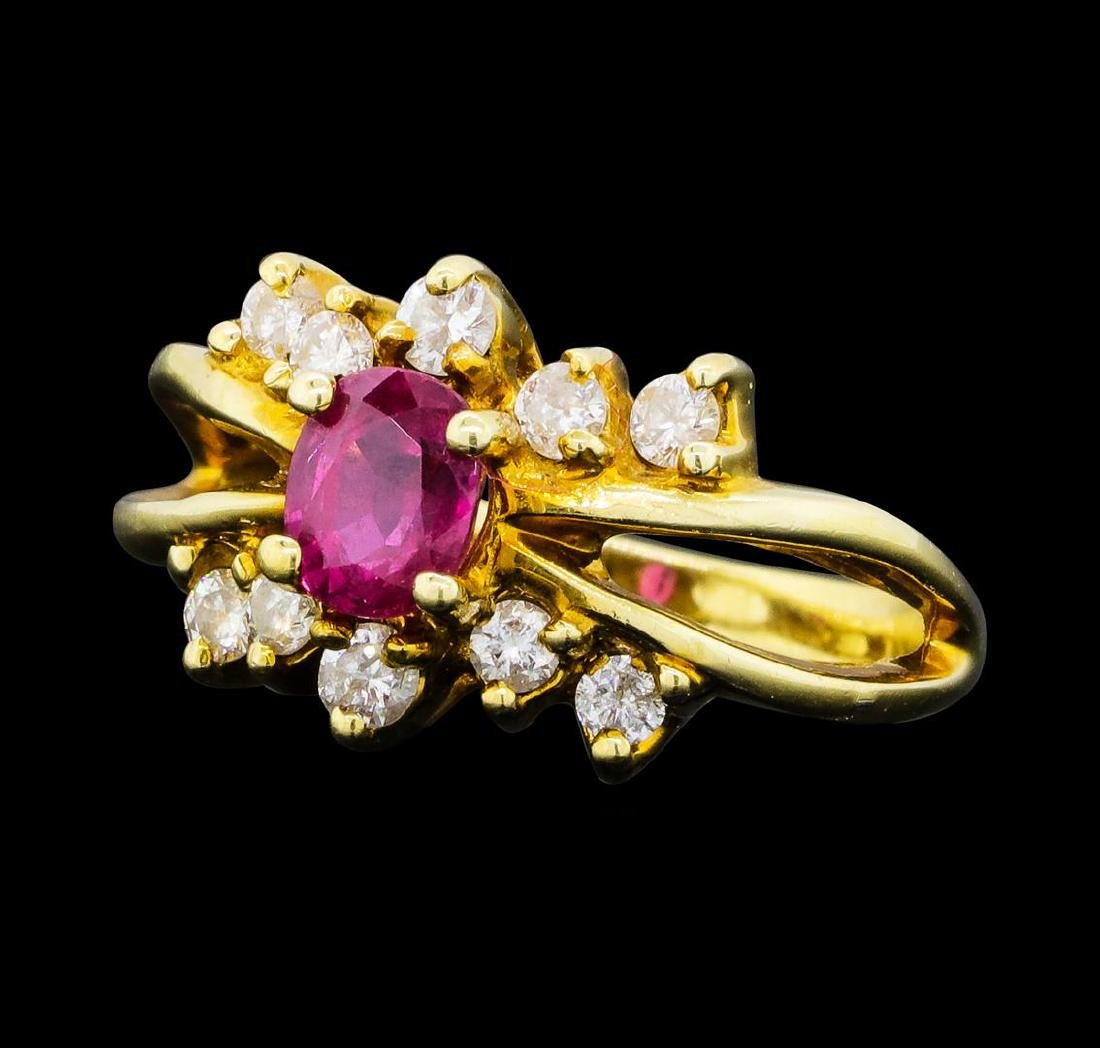 0.70 ctw Ruby and Diamond Ring - 14KT Yellow Gold