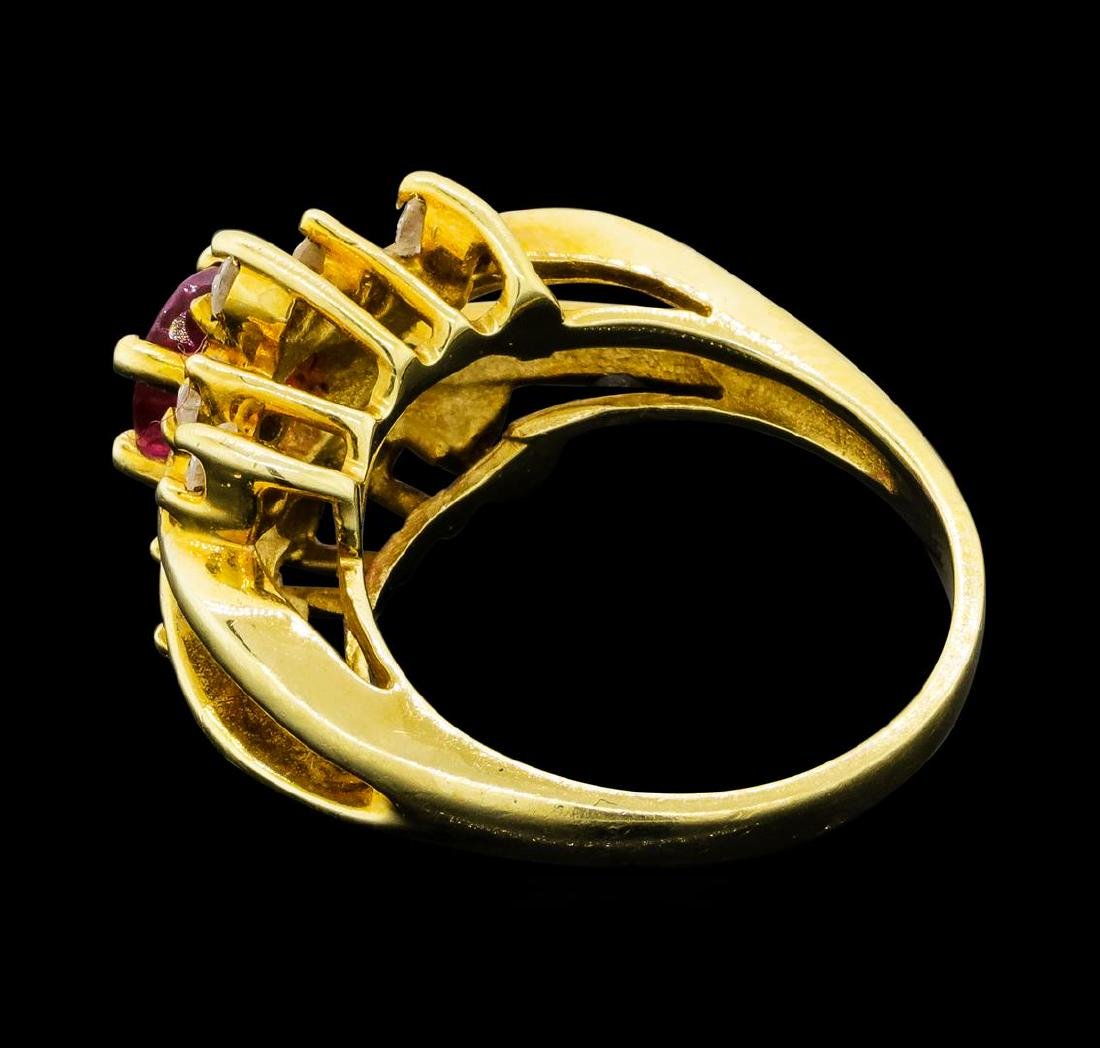0.70 ctw Ruby and Diamond Ring - 14KT Yellow Gold - 3