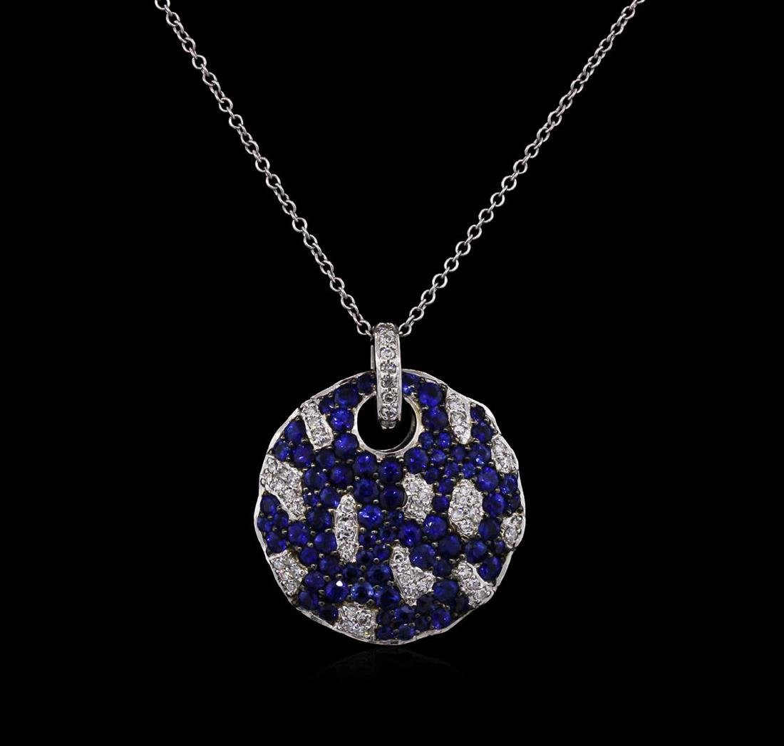 1.68 ctw Blue Sapphire and Diamond Pendant With Chain -