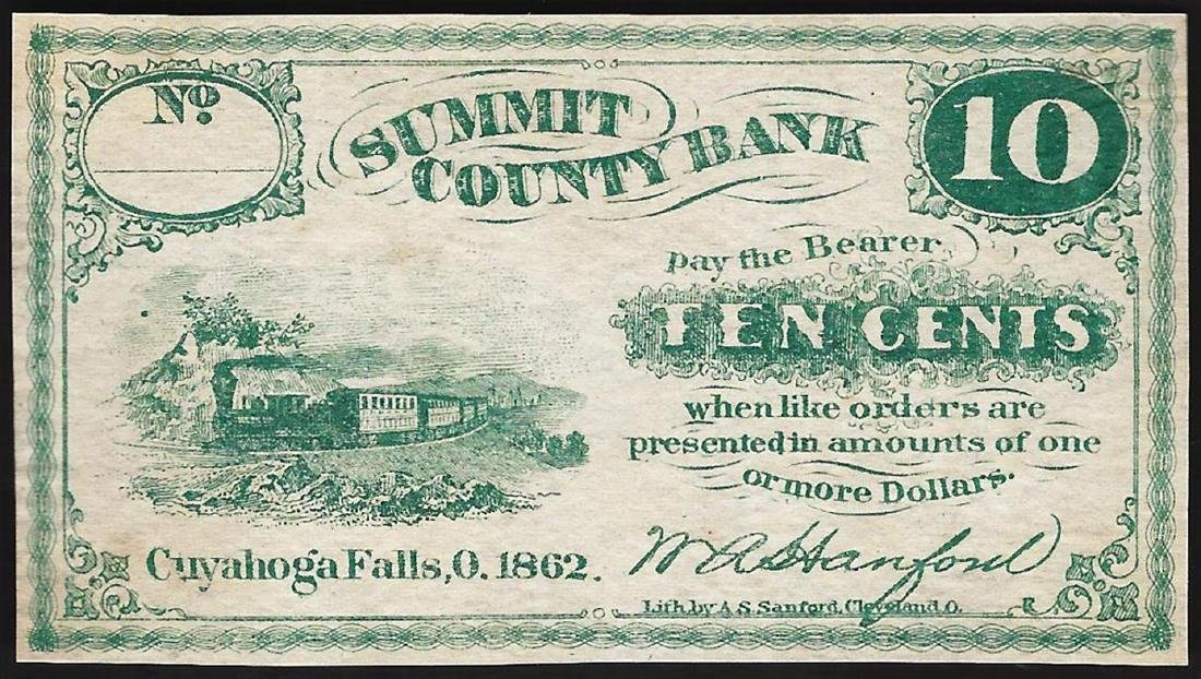 1862 Ten Cents Summit County Bank Obsolete Note