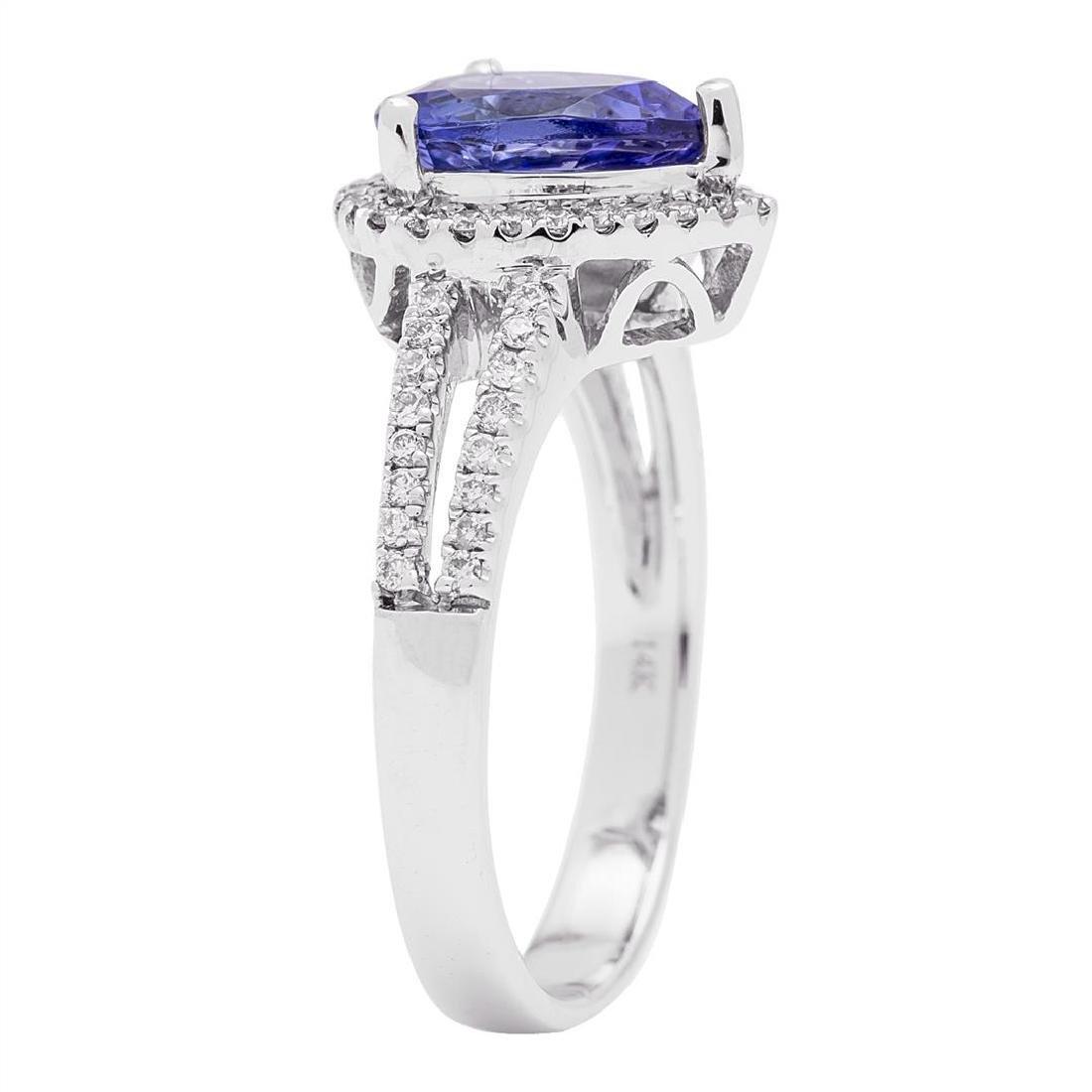 1.93 ctw Tanzanite and Diamond Ring - 14KT White Gold - 3