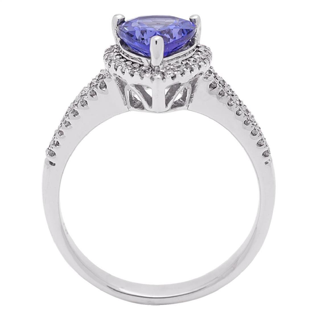 1.93 ctw Tanzanite and Diamond Ring - 14KT White Gold - 4
