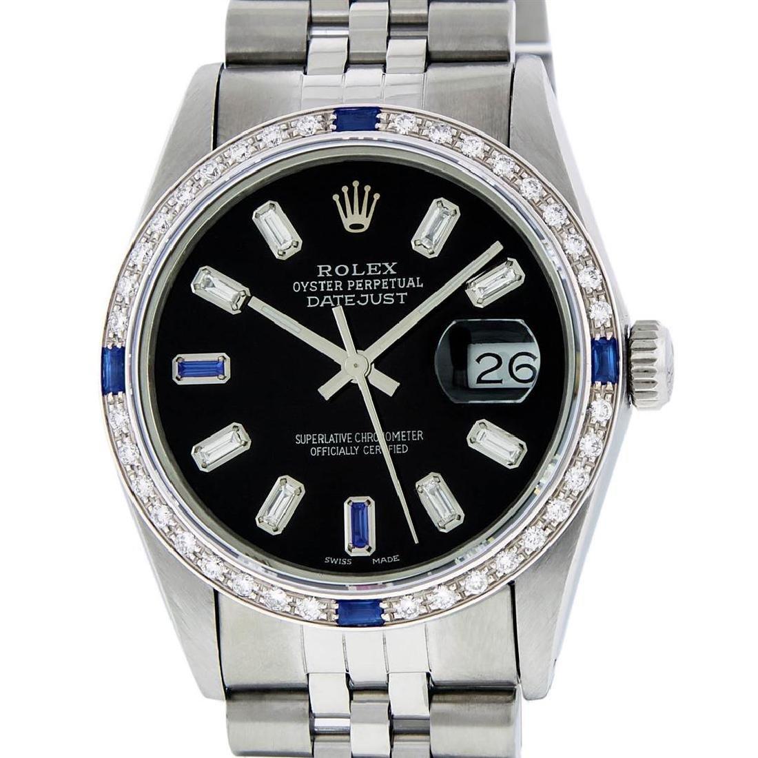 Rolex Mens Stainless Steel Black Baguette Diamond Dial