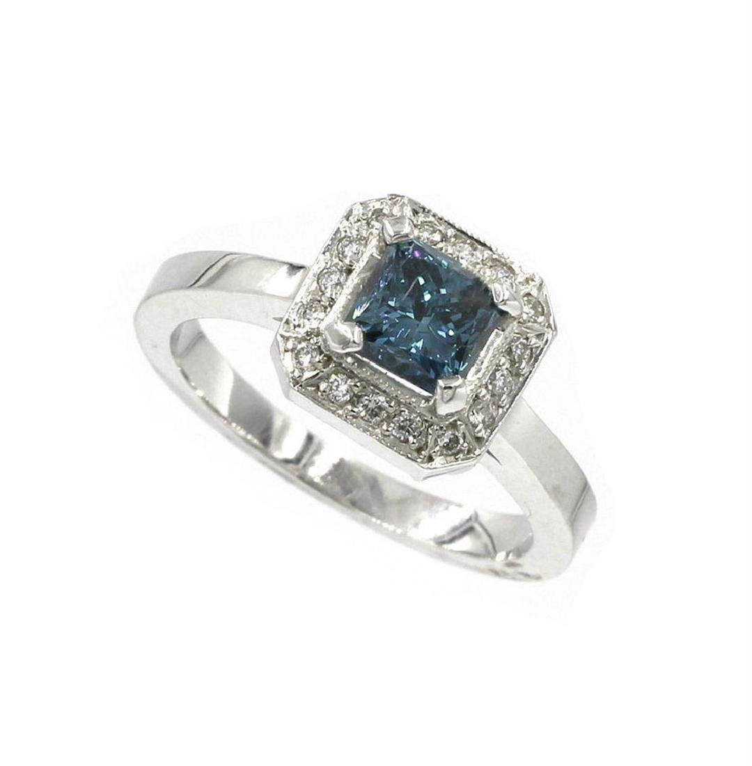1.04 ctw Blue and White Diamond Ring - 18KT White Gold - 2