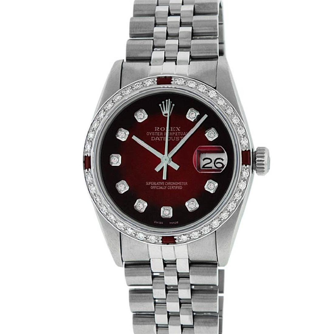 Rolex Mens Stainless Steel Red Vignette Diamond & Ruby