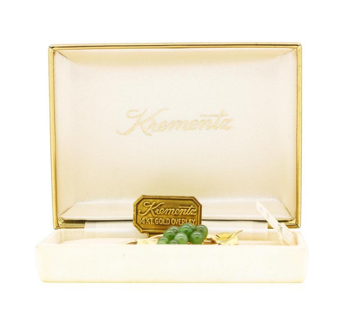 Vintage Krementz Genuine Jade Brooch with 14KT Gold - 2