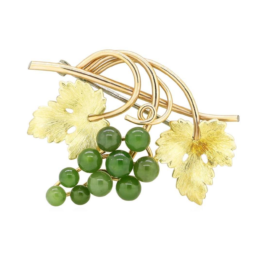 Vintage Krementz Genuine Jade Brooch with 14KT Gold - 3