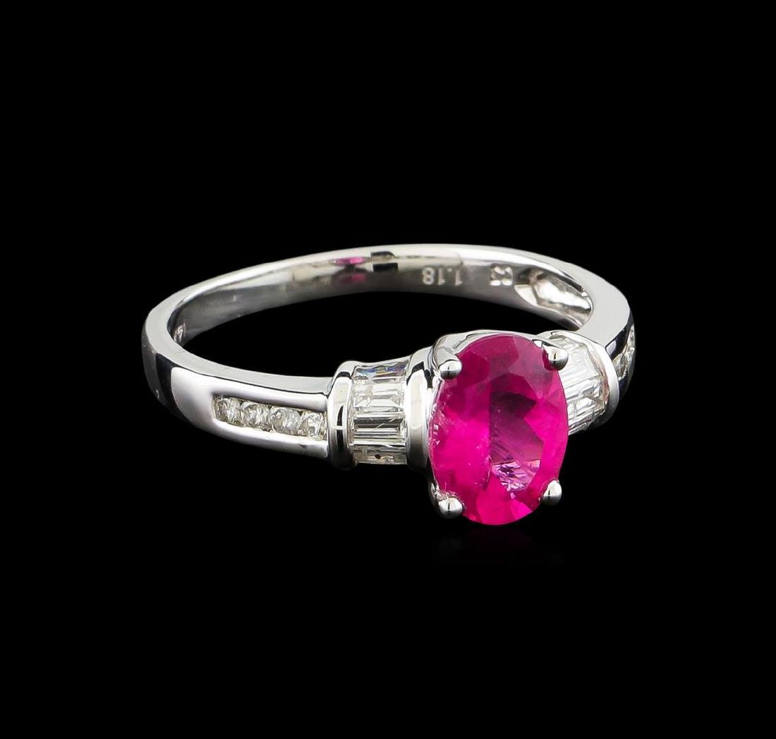 1.18 ctw Pink Tourmaline and Diamond Ring - 14KT White