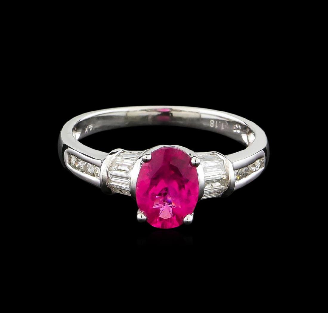 1.18 ctw Pink Tourmaline and Diamond Ring - 14KT White - 2