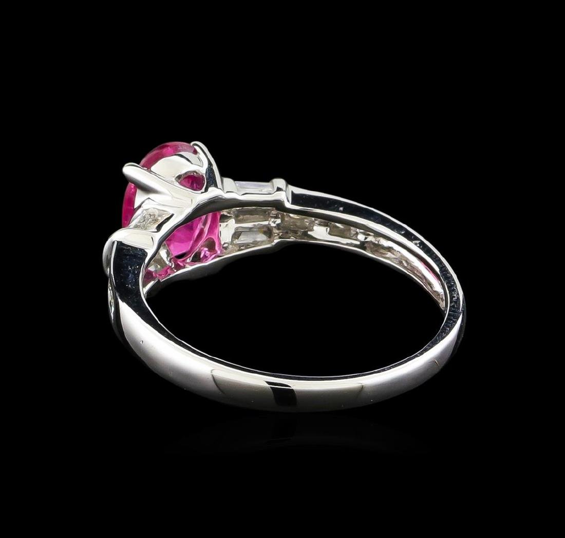 1.18 ctw Pink Tourmaline and Diamond Ring - 14KT White - 3