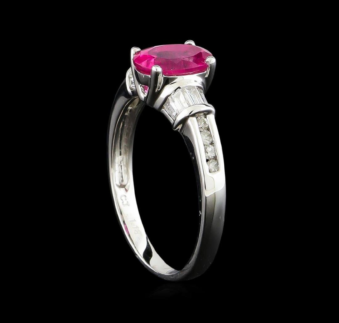 1.18 ctw Pink Tourmaline and Diamond Ring - 14KT White - 4