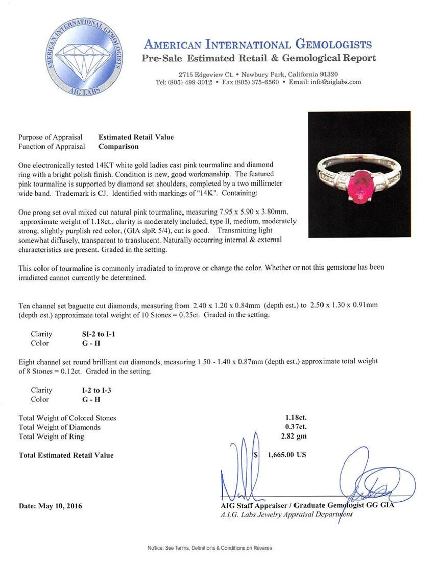 1.18 ctw Pink Tourmaline and Diamond Ring - 14KT White - 5