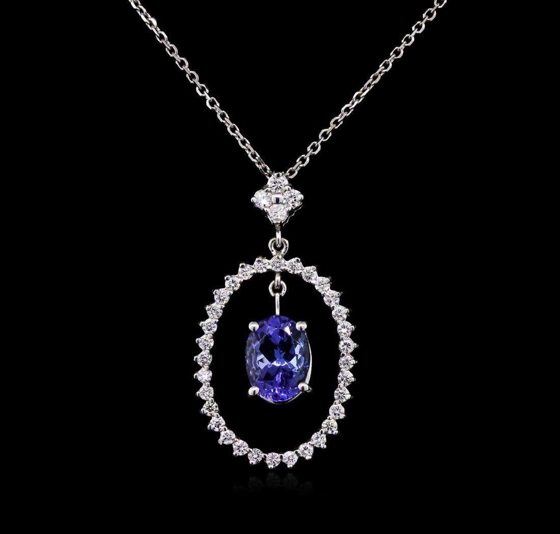 2.00 ctw Tanzanite and Diamond Pendant With Chain -