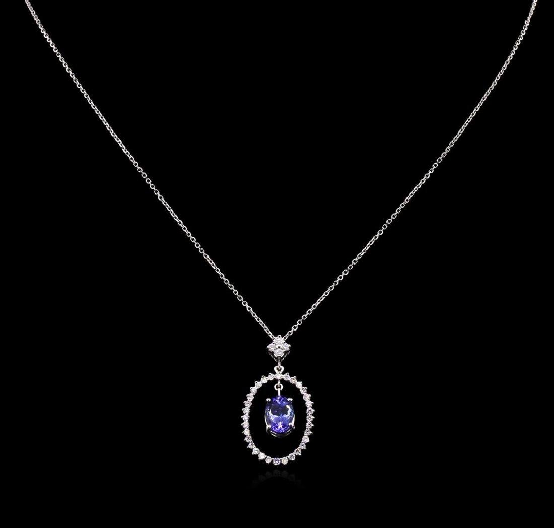 2.00 ctw Tanzanite and Diamond Pendant With Chain - - 2