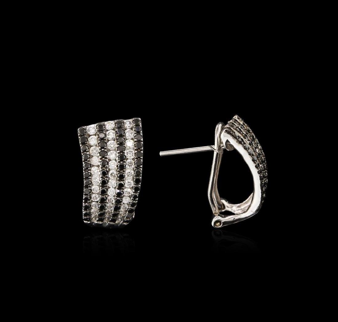 14KT White Gold 1.56 ctw Black Diamond Earrings - 2