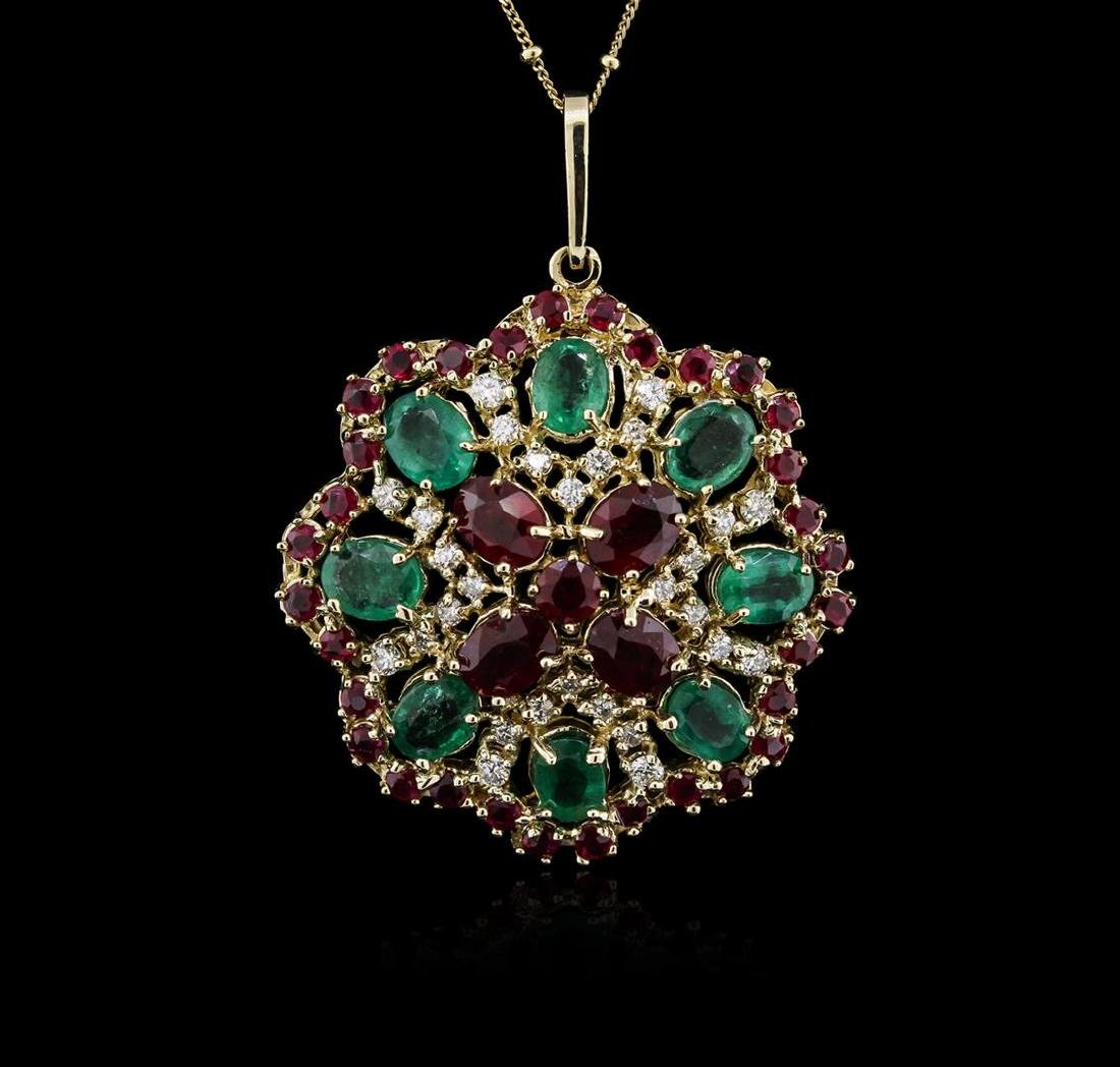 14KT Yellow Gold 11.78 ctw Ruby, Emerald and Diamond