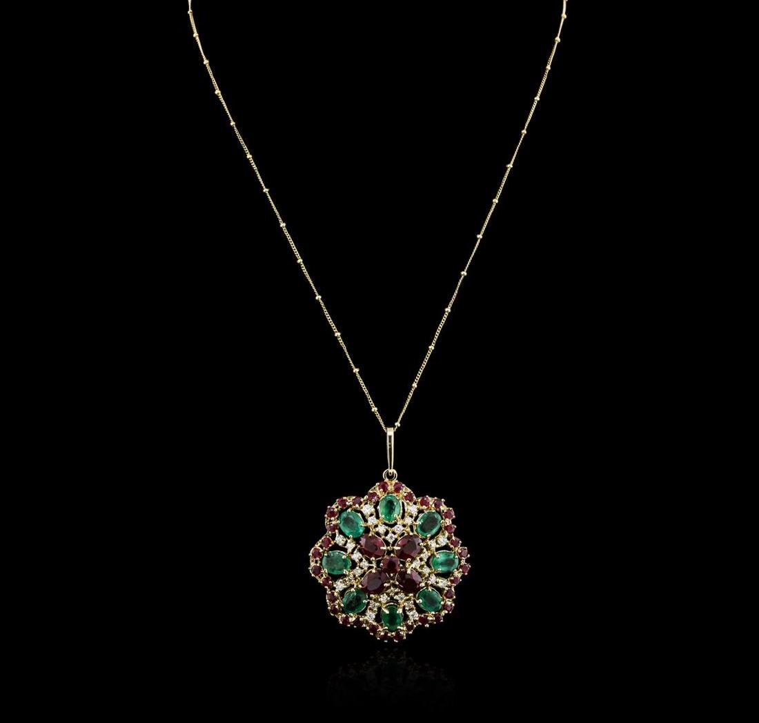 14KT Yellow Gold 11.78 ctw Ruby, Emerald and Diamond - 2