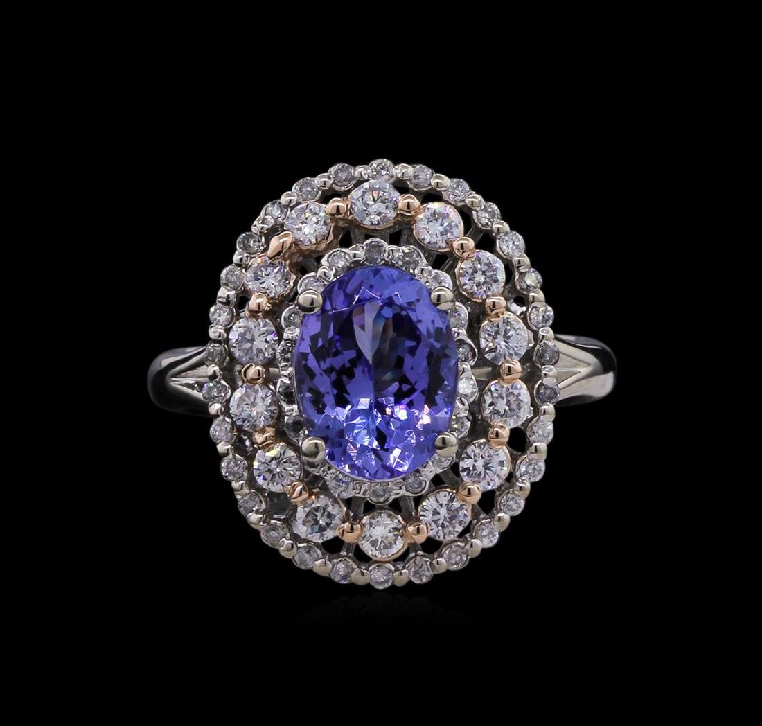 2.14 ctw Tanzanite and Diamond Ring - 14KT Two-Tone - 2