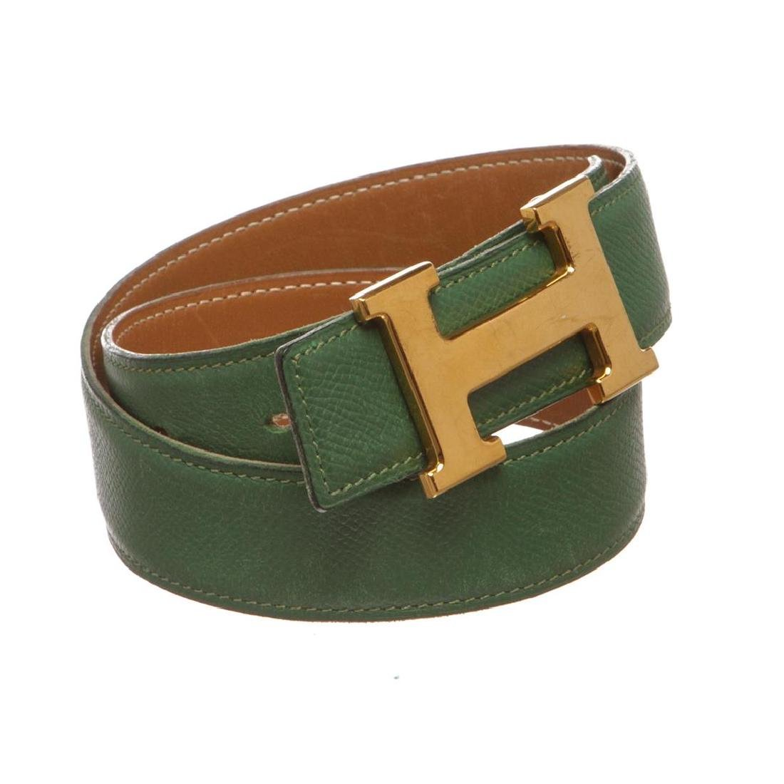 Hermes Green Leather Reversible Constance H Belt 60 - 2