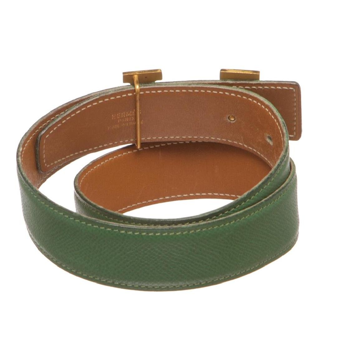 Hermes Green Leather Reversible Constance H Belt 60 - 5