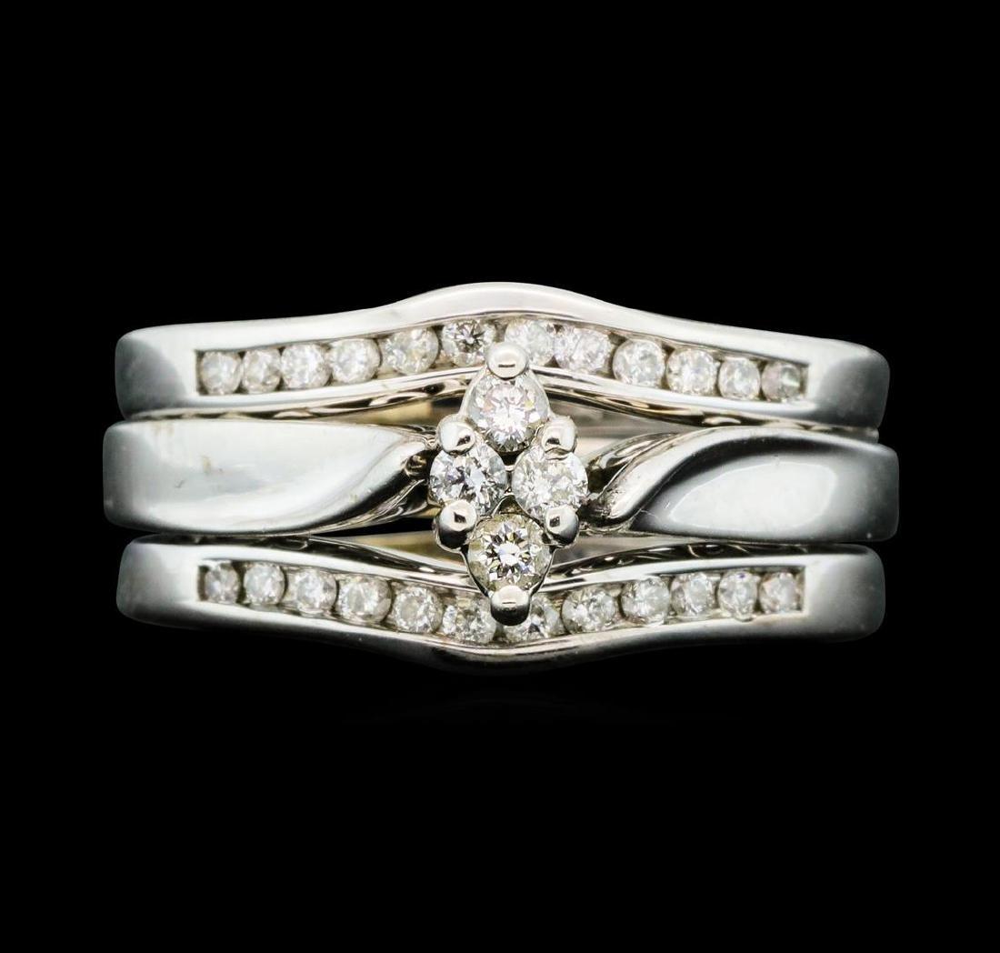 0.50 ctw Diamond Wedding Set - 14KT White Gold - 2