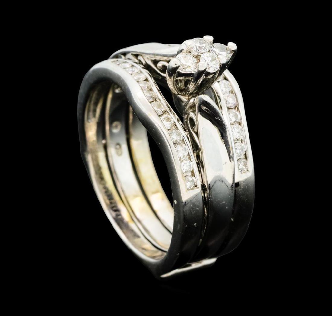 0.50 ctw Diamond Wedding Set - 14KT White Gold - 4