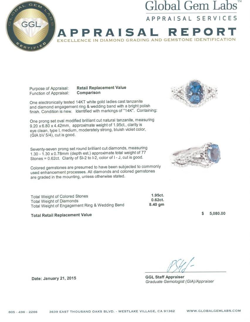 14KT White Gold 1.95 ctw Tanzanite and Diamond Wedding - 4