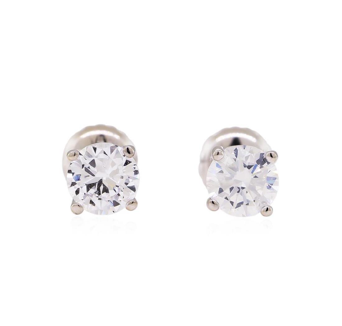 0.94 ctw Diamond Stud Earrings - 14KT White Gold