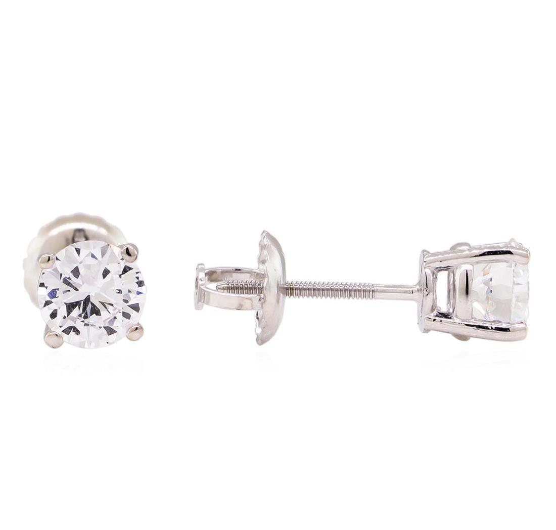 0.94 ctw Diamond Stud Earrings - 14KT White Gold - 2