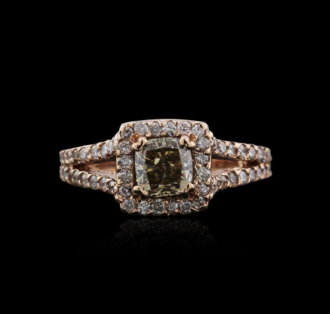14KT Rose Gold 1.39 ctw Fancy Yellowish Green Diamond - 2