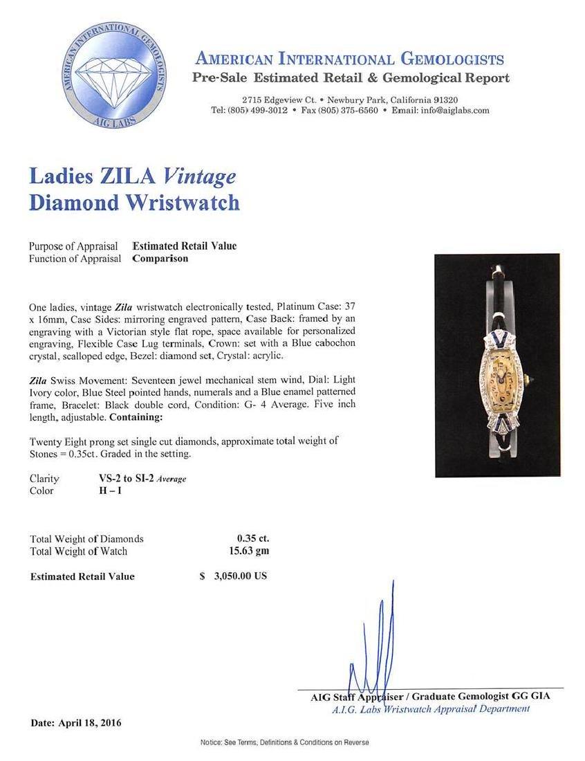 Zila Platinum Diamond Vintage Ladies Watch - 4