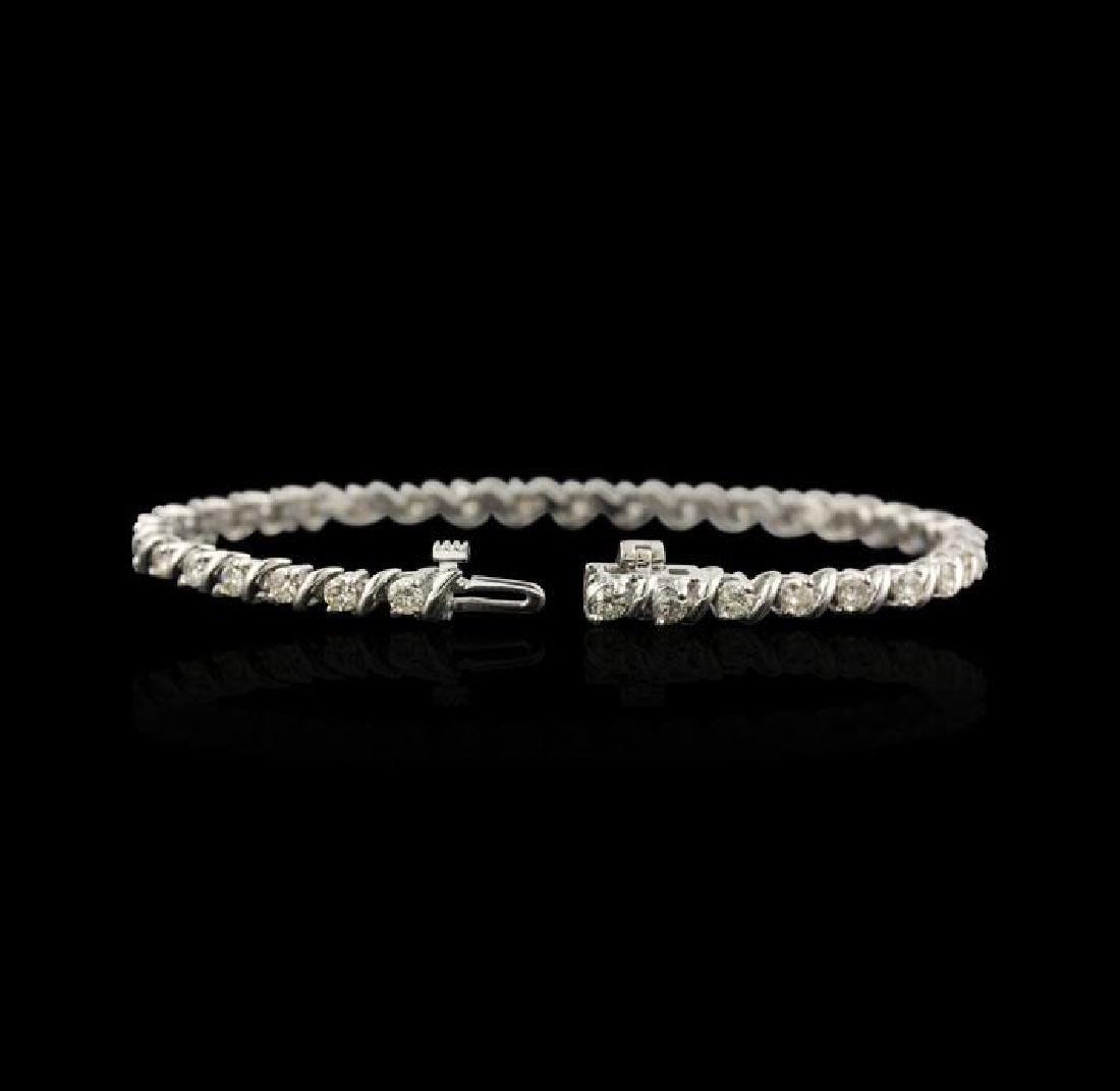 14KT White Gold 2.67 ctw Diamond Tennis Bracelet - 2