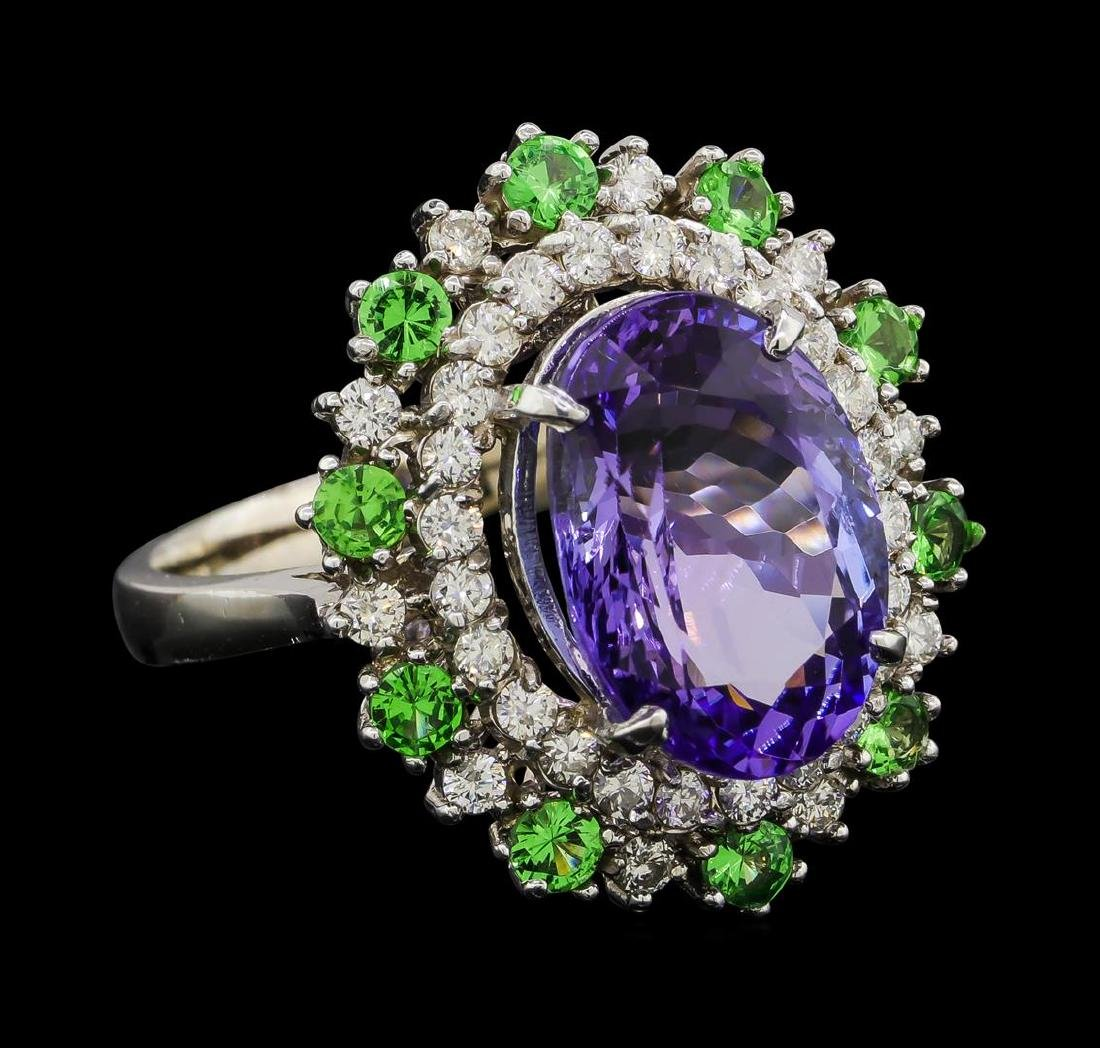6.20 ctw Tanzanite, Tsavorite and Diamond Ring - 14KT