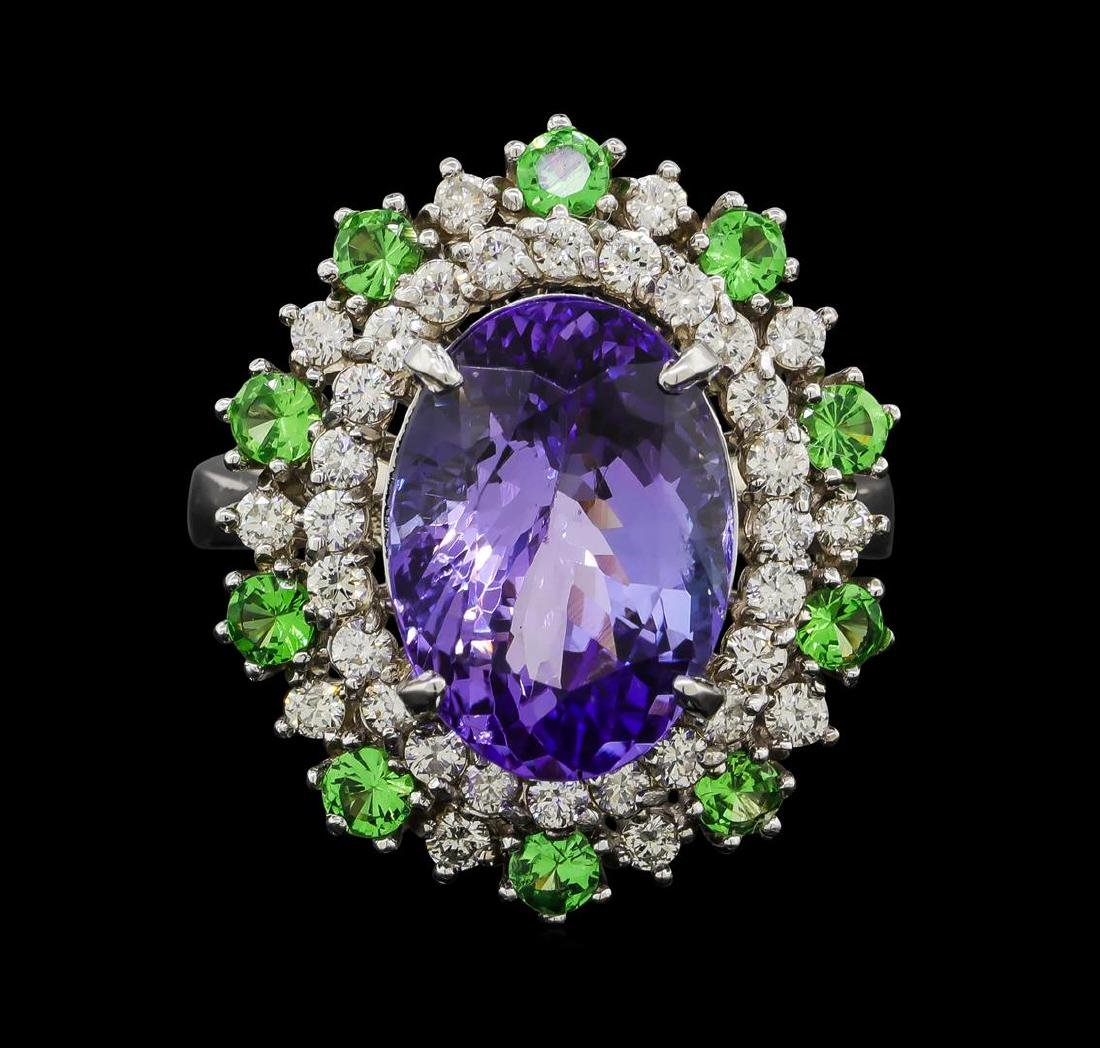 6.20 ctw Tanzanite, Tsavorite and Diamond Ring - 14KT - 2