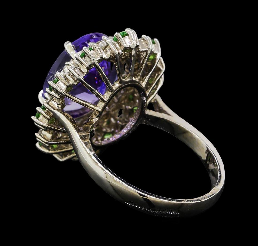 6.20 ctw Tanzanite, Tsavorite and Diamond Ring - 14KT - 3