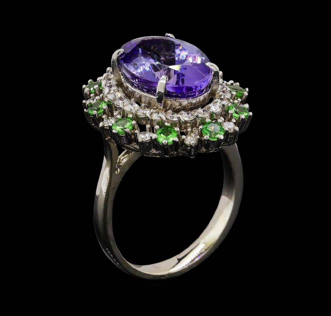 6.20 ctw Tanzanite, Tsavorite and Diamond Ring - 14KT - 4