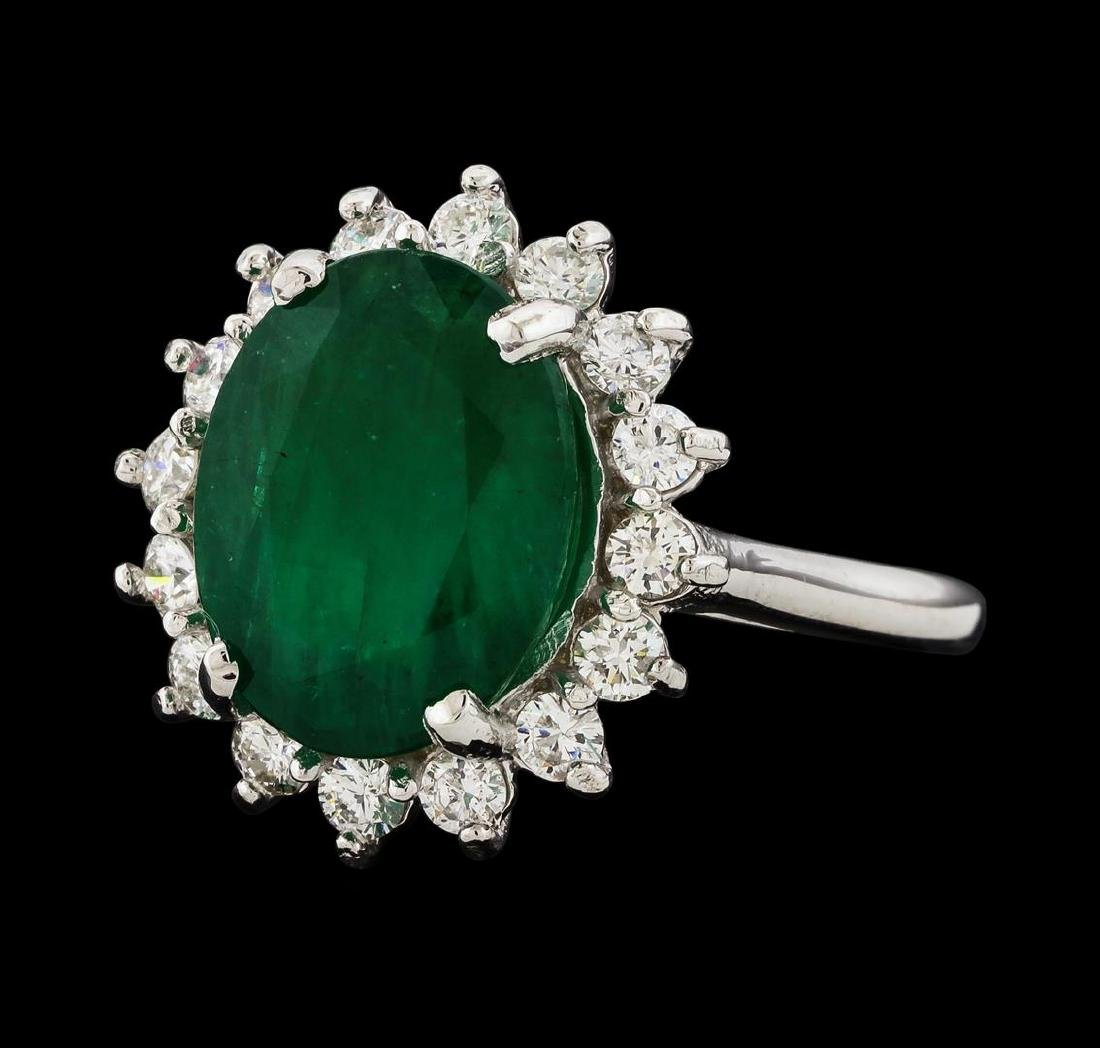 4.77 ctw Emerald and Diamond Ring - 14KT White Gold