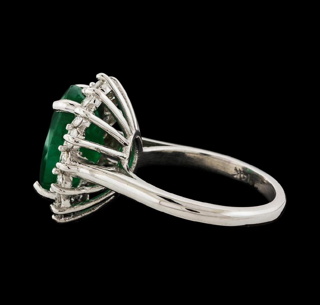 4.77 ctw Emerald and Diamond Ring - 14KT White Gold - 3