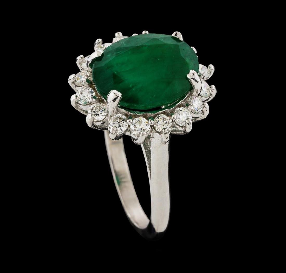 4.77 ctw Emerald and Diamond Ring - 14KT White Gold - 4